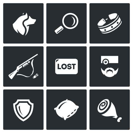 wścieklizna: Homeless street animals and their catch. Isolated symbols on a black background Ilustracja