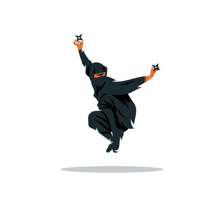 ninjutsu: Warrior in black dress with shuriken in a jump Isolated on a White Background