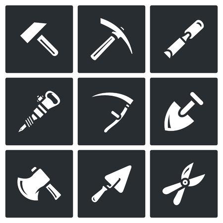 kirk: Hammer, Kirk, Chisel, Plugger, Scythe, Shovel, Axe, Trowel, Pruner.