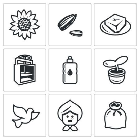 husks: Plant, Husk, Product, Equipment, Bottle, Escape, Bird, Old woman, Bag Illustration