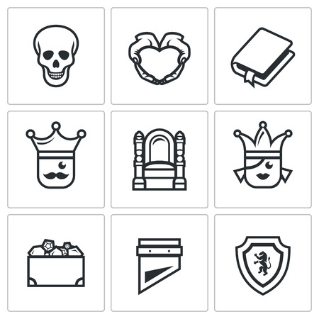 guillotine: Skull, Heart, Book, King, Queen, Heritage, Guillotine, Shield