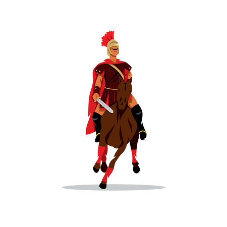 horse warrior: Warrior in armor on horse. Isolated on a white background Illustration