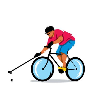 Man on a bicycle kicks the ball. Isolated on a White Background Illustration