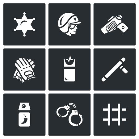 man with gun: Badge, Man, Gun, Gloves, Taser, Baton, Tear Gas, Handcuffs, Prison
