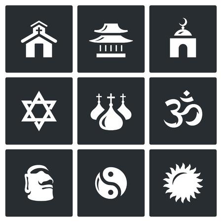 aum: Church, Temple, Mosque, Synagogue, Dome, Aum, Stone Idol, Yin Yang, Sun