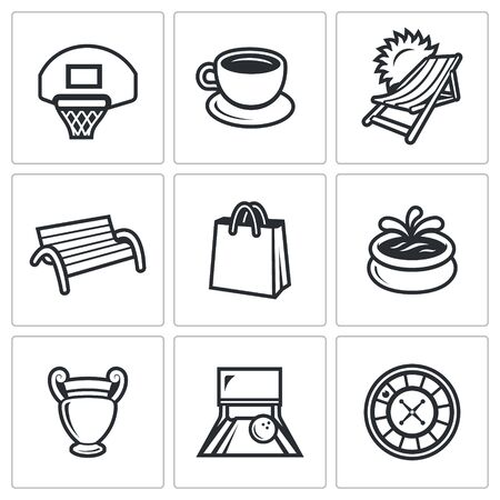 bowling alley: Basketball board, Cup of Coffee, Resort, Benche, Bag, Fountain, Vase, Bowling Alley, Roulette