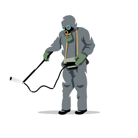 hazardous waste: Man in protective suit and gas mask with radiation dosimeter. Isolated on a white background Illustration