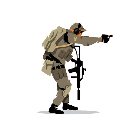 shooter: The shooter is moving with a gun. Isolated on a white background Illustration