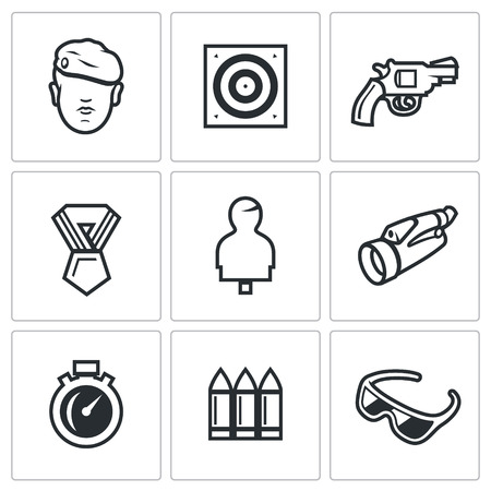 ammunition: Warrior, Stationary Target, Gun, Order, Moving Target, Binocular, Stopwatch, Ammunition, Glasses.