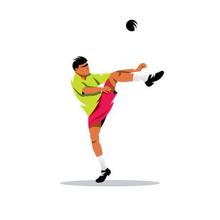 kicks: The athlete kicks the ball. Isolated on a white background