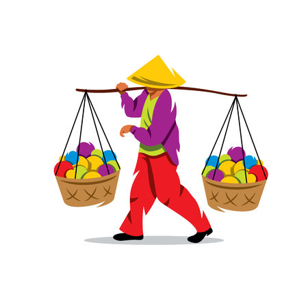 salesperson: Unidentified man carries bamboo yoke with foods for sale on the street. Isolated on a White Background