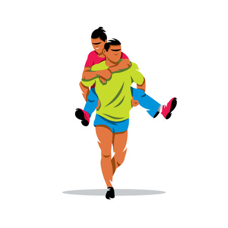 piggyback: Man carries his girlfriend on his back isolated on a white background Illustration