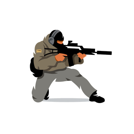 mercenary: The soldier fires his gun down on one knee. Isolated on a white background Illustration