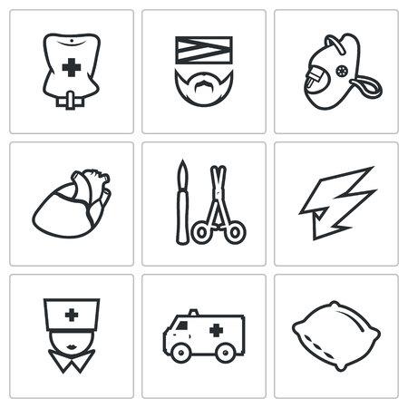 electroshock: Pipette, Disabled, Oxygen, Organ, Surgery tools, Electroshock, Doctor, Transport, Hospital Bed.