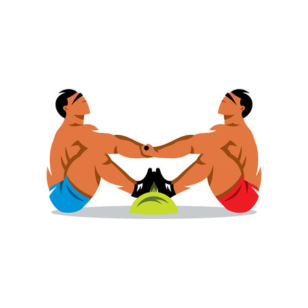 pull: Two athletes are trying to pull each other beyond borders. Isolated on a White Background Illustration