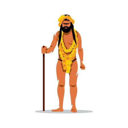 sadhu: Pilgrim with his staff. Isolated on a White Background Illustration