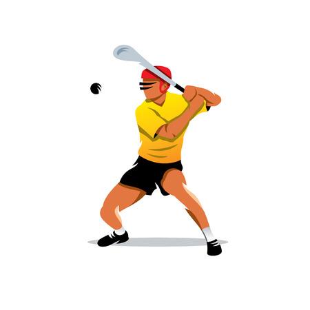 El hombre en el casco golpea la bola con un palo. Aislado en un fondo blanco