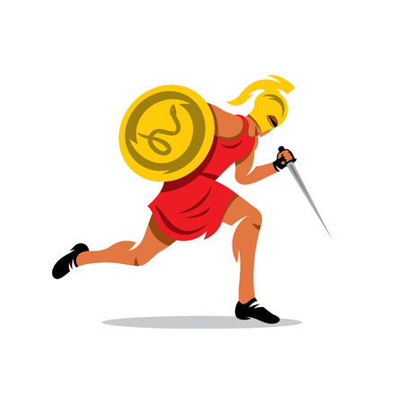 Gladiator in a helmet runs with shield and dagger. Isolated on a white background Illustration