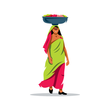 basin: Lady carrying a basin on her head. Isolated on a white background