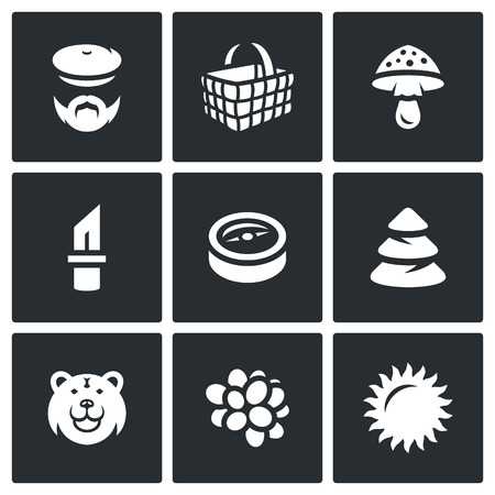 orientation: Mushroomer, Basket, Mushroom, Tool, Orientation, Forest, Predator, Fruit, Weather. Illustration