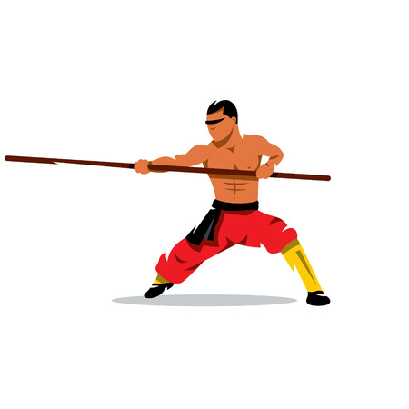 Man practicing martial arts with a pole. Isolated on a white background 矢量图像