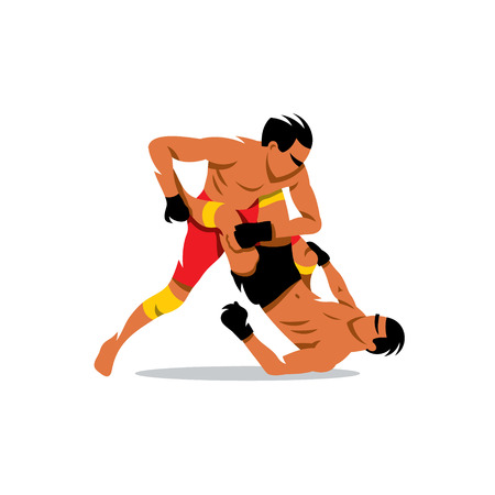 grappling: Two men fighting. Isolated on a white background