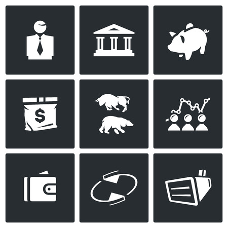 stock quotes: Man, Building, Accumulate, Bag, Exchange, Schedule, Finance, Rotating, Equipment. Illustration