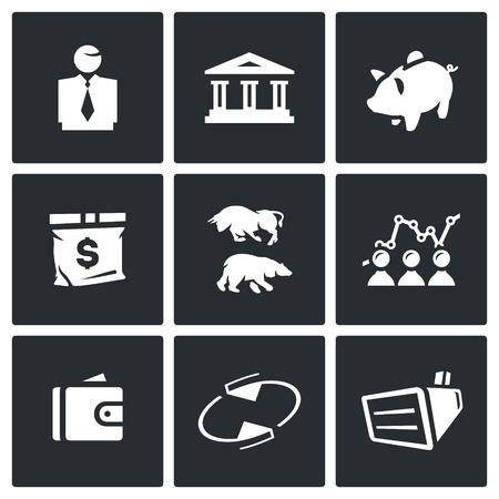 stock exchange brokers: Man, Building, Accumulate, Bag, Exchange, Schedule, Finance, Rotating, Equipment. Illustration