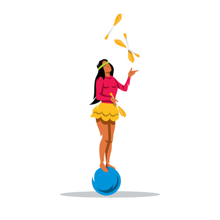 Girl standing on the ball throws skittles. Isolated on a White Background