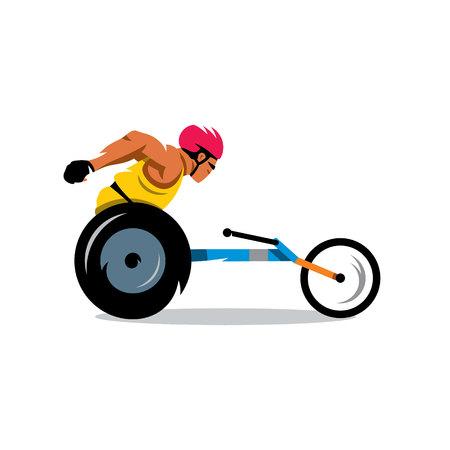paraplegic: El atleta con discapacidad en una carrera. Aislado en un fondo blanco Vectores