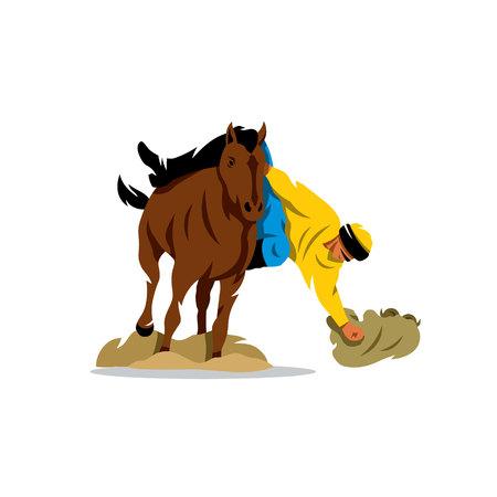 mongolia horse: Nomad horseman missing sheep. Isolated on a White Background