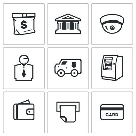 security staff: Encashment, Banks filial, Security, Staff, Cash, Finance, Service, Receipt Illustration