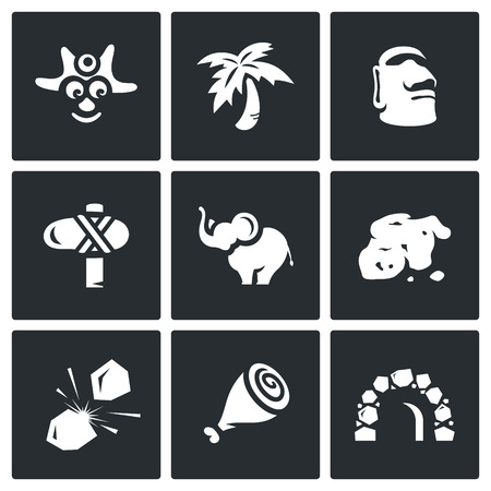aborigine: Aborigine, Palm, Idol, Weapon, Elephant, Ore, Flint, Meat, Cave.