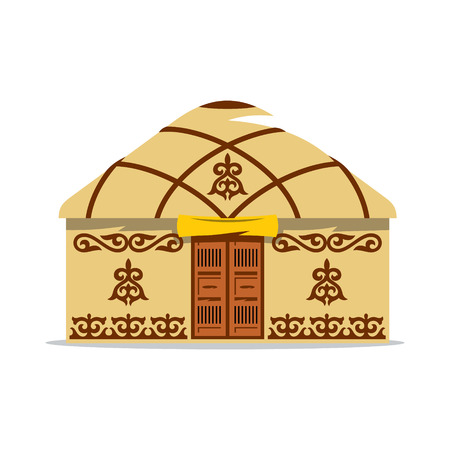 mongolia: Home with traditional patterns on the walls and roof, with wooden double doors isolated on white background Illustration