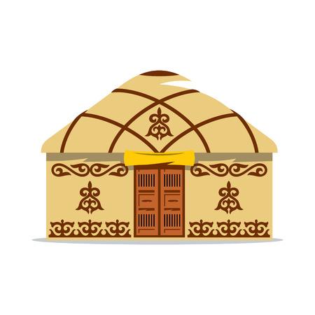Inicio con los patrones tradicionales en las paredes y el techo, con puertas dobles de madera aislado en el fondo blanco