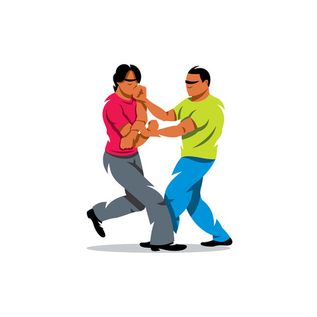 Two people work out fighting skills in tandem with each other. Isolated on a white background Illustration