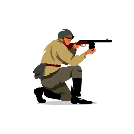 Old military warrior in a helmet with a gun in his hand. Isolated on a white background