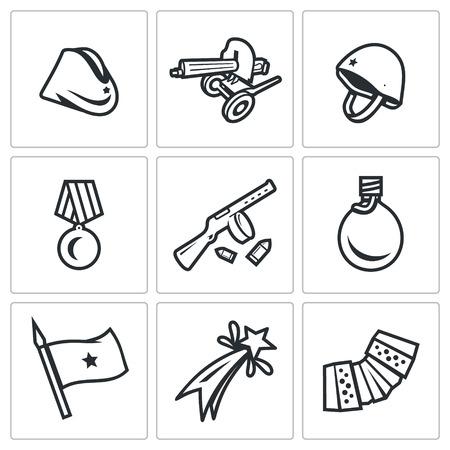 garrison: Hat, Weapon, Medal, Gun, Water, Banner, Celebration, Music. Illustration