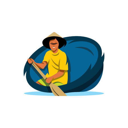 oar: A man with an oar in a round basket. Isolated on a white background