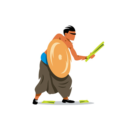 Warrior armed with thorny pandanus leaves. Isolated on a white background Illustration