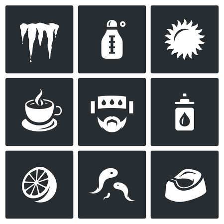 bloodsucker: Icicle, Thermometer, Sun, Tea, Patient, Prevention, Citrus, Bloodsucker, Toilet pot Illustration