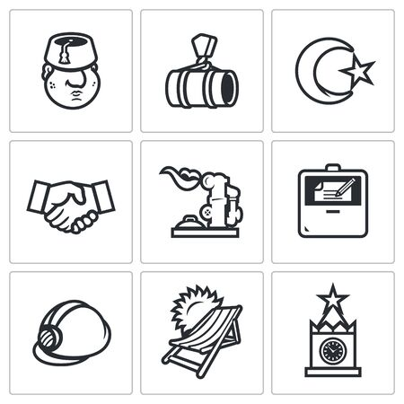 arms trade: Man, Pipe, Crescent and star, Handshake, Gas Storage, Agreement, Helmet, Beach,  Kremlin Illustration