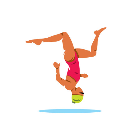 perform: Swimmer upside perform exercises. Isolated on a white background