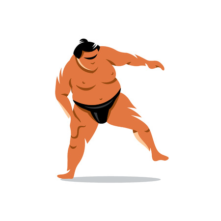 combative: Sumo wrestler in a traditional rack isolated on a white background Illustration