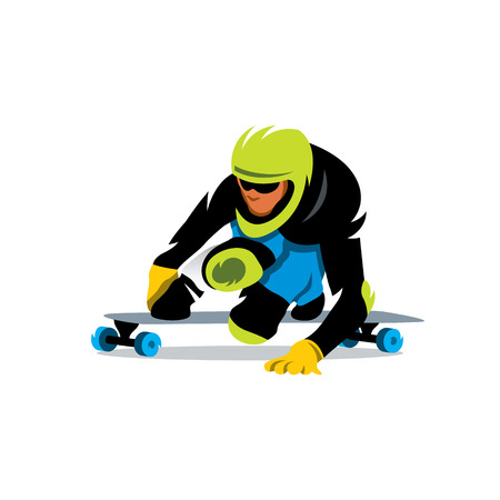 Downhill skateboarder in action on a asphalt road. Isolated on a white background Illustration