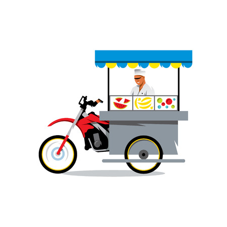 The smiling young asian cook is preparing on his outdoor mobile street kitchen. Isolated on a white background Illustration