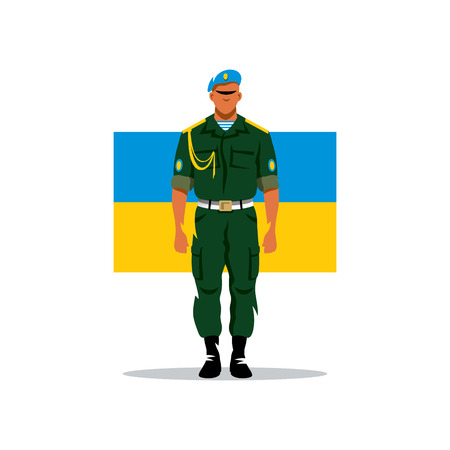 honour guard: Soldier Airborne Forces of Ukraine. Isolated on white background.