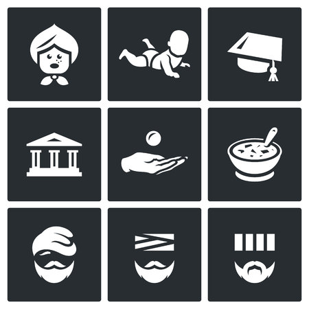 alms: Pensioner, Baby, Hat, Bank, Alms, Food, Migrant, Patient, Criminal Illustration