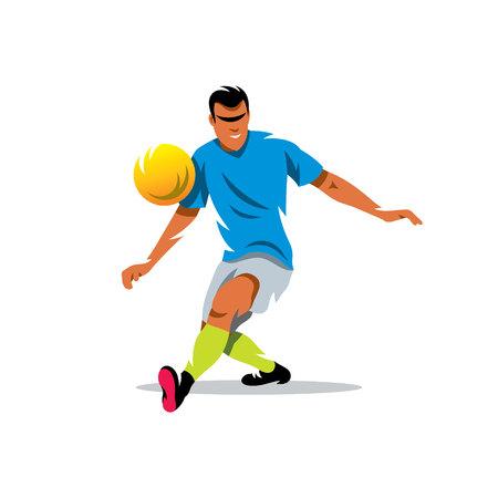 kicks: Man kicks the ball. Isolated on a white background Illustration