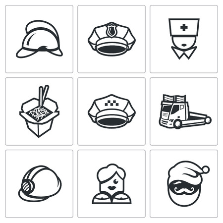 Helmet, Cap, Nurse, Chinese noodles, Car evacuation, Woman, Santa. Иллюстрация